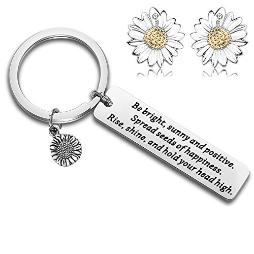 FUSTYLE Sunflower Charm Keychain Be Bright Sunny and Positive Sunflower Quote Inspirational Gift (Sunflower Earring ()