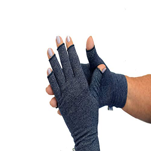 Rheumatoid Pain Compression Arthritis Gloves. Pain Relief, Ease Muscle Tension, Relieve Carpal Tunnel Ache for Men and Women, Heat Hand Gloves for Computer. (Navy Blue) - Womens Training Computer
