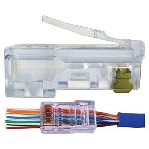 100 Pcs RJ45 Network Cable Modular Plug CAT5e 8P8C Connector End Pass Through
