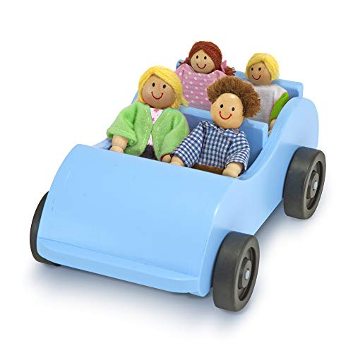 Trip Wooden Toy Car and 4 Poseable Dolls (4-5 inches each) ()