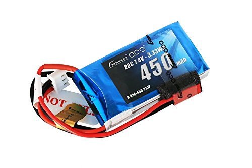 Gens ace 7.4V 450mAh 2S LiPo Battery Pack 25C/50C with JST Plug for Emax Babyhawk RC Heli 250 Helicopter Small Airplane Micro FPV Racing Drone Quadcopter