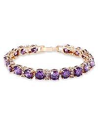 "Firewings 18k Gold Filled purple sapphire promising Cool jewlery lady Bangle Bracelet 7""22.7g"