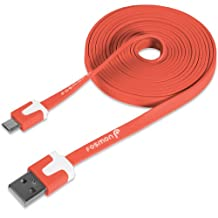 Fosmon (1.8m / 6ft) Vivid Flat Micro USB Cable [Tangle Free]for Samsung Galaxy, HTC, Xperia, Motorola, LG, Lumia, Blackberry, Blu Smartphones, Xbox One/PS4 controllers (Red)