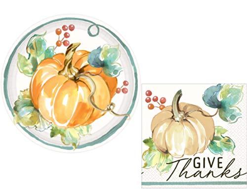 Thanksgiving Appetizer Plates (Fall Pumpkin Harvest Party Supply Kit: Autumn Theme Appetizer/Dessert Bundle Includes Paper Plates & Napkins for 16)
