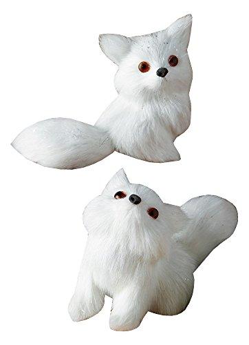 Fur Christmas Ornaments (Raz Imports Set of 2 Assorted Faux Fur Glittered White Fox Christmas Ornaments 4.5