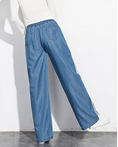 Bootcut Femmes Haute Jeans Large Taille Clair Straight Pantalon Boyfriend Bleu Pq5PvSnYwI