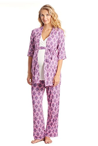 Everly gris de la mujer Roxanne de maternidad lactancia Juego de pijama con bebé albornoz India Floral