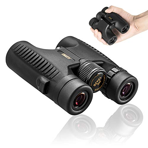 BEDOHAVE Adults 10x26 Folding Compact Mini Zoom Binoculars Lightweight Black Telescope for Bird Watching