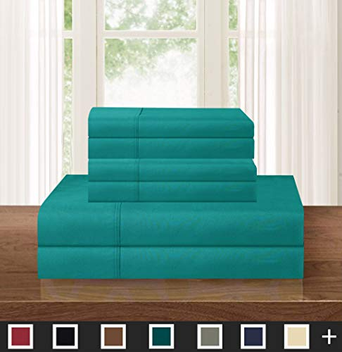 Elegant Comfort Luxurious Soft 1500 Thread Count Egyptian 4-Piece Hotel Quality Wrinkle Resistant Coziest Bedding Set, Easy All Around Elastic Fitted Sheet, Deep Pocket, Twin/Twin XL, Turquoise