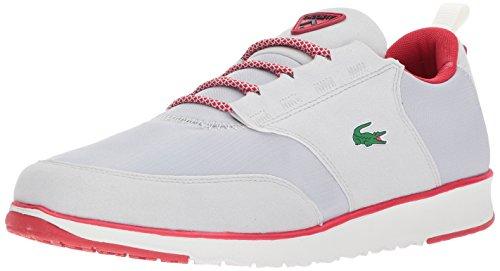 Lacoste Men's L.Ight 417 1 Sneaker, Light Grey/Red, 8.5 M US