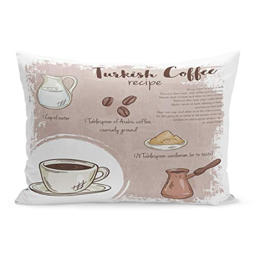 Emvency Throw Pillow Covers Bar Cup of Turkish Coffee Recipe List Ingredients Food Pillow Case Cushion Cover Lumbar Pillowcase Decoration for Couch Sofa Bedding Car Home Decor 20 x 26 inchs