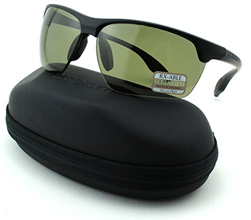 Serengeti Linosa Unisex Sqaure Sunglasses (Satin Black Frame, Polarized PhD Lens ()