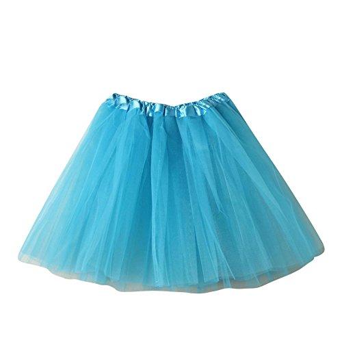 SaiDeng Jupe Courte Bal Ballet Tulle En Dentelle Costume Tutu Femme Jupon Princesse Bouffe Pliss Mini-Jupe Pour Danse Cosplay Dguisement Elastique Soire Azur