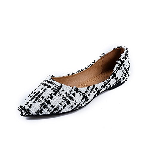 Meeshine Womens Classic Pointy Toe Ballet Flats Slip On Plaid Dress Flat Shoes White-02 US 6