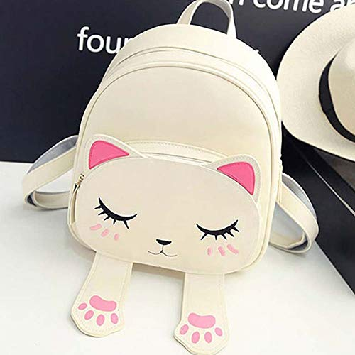 Bizarre Vogue Cute Small Cat Style Backpack for Girls (Cream,BV1204)