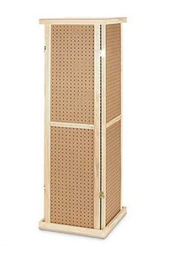 5 Inch Tall Rotating Wood Pegboard Tower with Base and Top