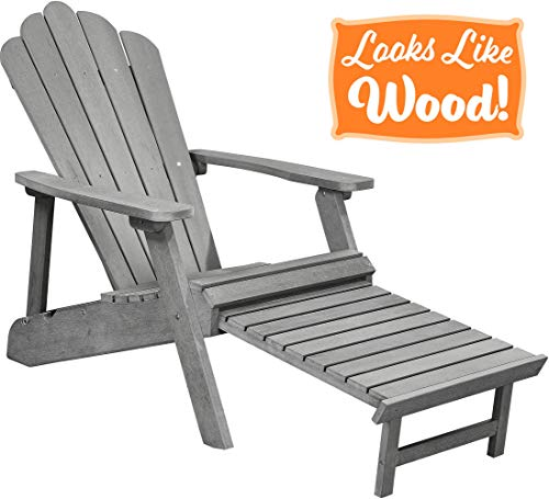 PolyTEAK Deluxe Oversized Reclining Poly Adirondack Chair with Pullout Ottoman, Stone Gray | Adult-Size, Weather Resistant, Made from Special Formulated Poly Lumber Plastic (Gray Chairs Adirondack Plastic)
