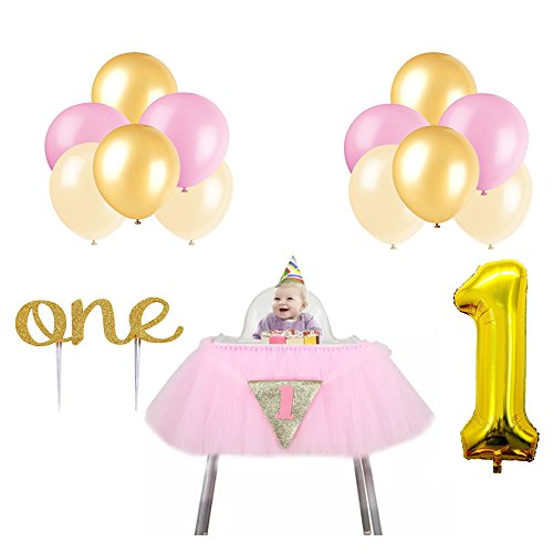 High Chair Decorations for 1st Birthday Girl Kit. Includes Tulle Skirt, Gold-One Cake Topper, No.1 Foil and 12 Latex Balloons