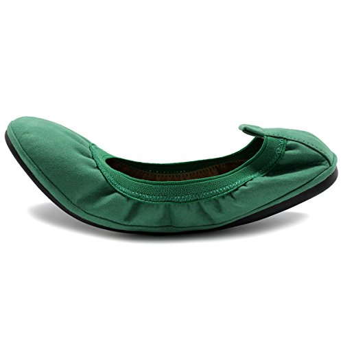 Ollio Damenschuhe Faux Suede Comfort Ballet Flat Grün