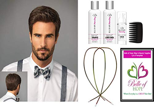 7pc Bundle: STYLE HF Men's Synthetic Wig by HIM, Mara Ray Luxury 4Pc Travel Kit, Wire Wig stand and 19 Page Belle of Hope Q & A Booklet (M44S)