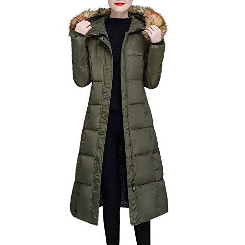 (HULKAY Womens Hooded Coat,Top Fashion Fur Collar Long Sleeve Zip Jacket Thick Warm Outwear Boho Tops Plus Size(Army)