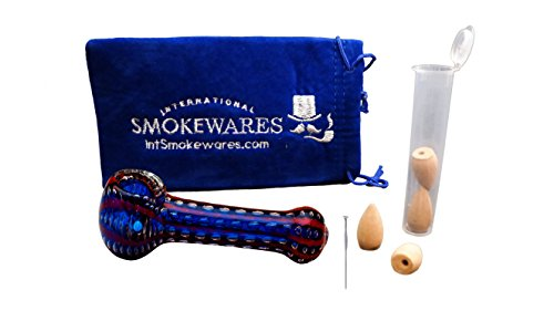 Double Blown Extra Thick Glass Kit, with Triple Layer Padded Pouch, Down Draft Incense, Pop Top Smell Proof Tube, Stainless Steel Pick (Blue with Red)