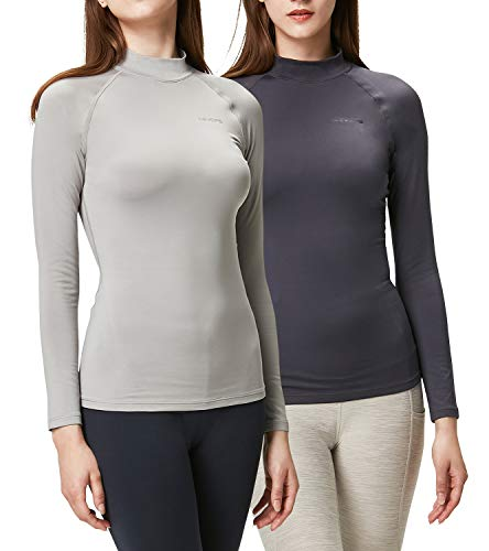 DEVOPS Women's 2 Pack Thermal Heat-Chain Compression Baselayer Tops Mock Turtleneck Long Sleeve T-Shirts (Large, Charcoal/Light Grey)