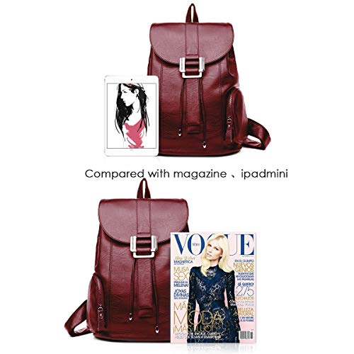 for School Rucksack APHISON Red Backpacks Women Bag PU Waterproof Fashion Daypack qUUPxRET