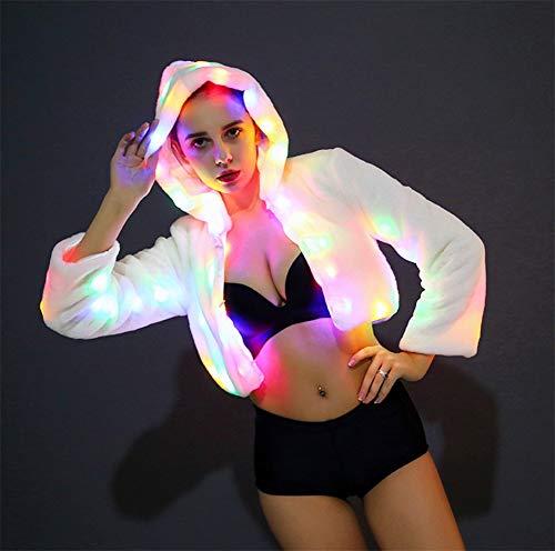 Bianca Gala Performance Luce a di Femmina Abito Natale LED Festa Flash sera Capi Halloween Cosplay Abbigliamento Signorina da abbigliamento Donne Aw1fSqnw