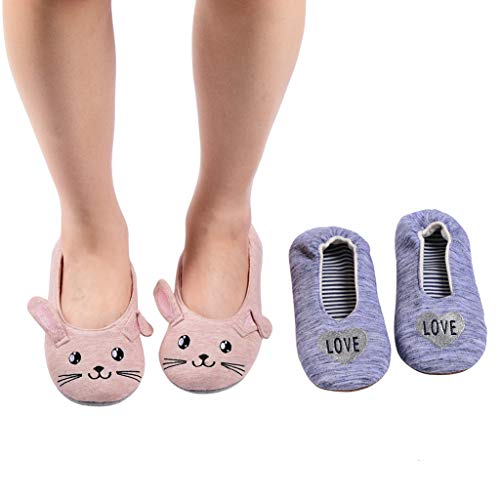 Panda Bros Women's Ballerina House Slippers,Anti-Skid Comfy Warm Ballet Style Slippers(2 Paris,Cat&Blue Love,5-7.5)