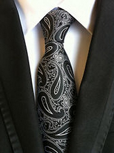 Jacob AleX #47203 Costume Paisley White Black JACQUARD WOVEN Necktie (Jacob Black Halloween)