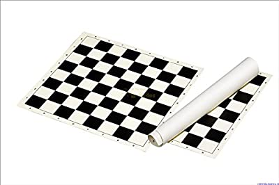 "Club & Tournament Standard Vinyl Rollup CHESS BOARD BLACK / WHITE- 2"" Squares - Size 17,3"""