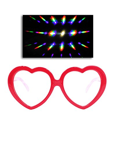 Emazing Lights Love Lens Heart Diffraction Prism Fireworks Rave Glasses (Clear - Glasses Rave Diffraction