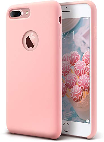 (Coolwee iPhone 7 Plus case,iPhone 8 Plus Case Liquid Silicone Gel Rubber Soft Microfiber Cloth Lining Cushion Shockproof Slim Protective Case for Apple iPhone 7 Plus iPhone 8 Plus 5.5 inch Pink)