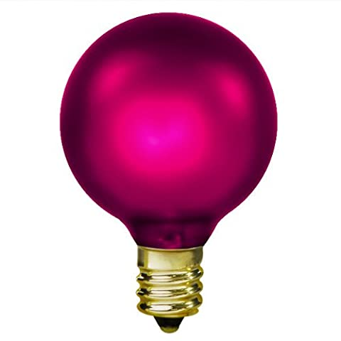 15 Watt - Amethyst Magenta - G16.5 (G50) - Candelabra Base - 2 in. Dia - 130 Volt - Amusement Light (Magenta Lamp)