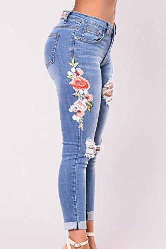 Long Jeans Les Floral Broderie Darkblue Extensible Dchirs Pantalon Trou n6nBqTwp0R