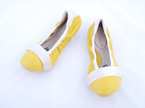 Puma Rudolf Dassler Rhythm Metal Bombas / zapatos del ballet del cuero de las mujeres Multicolor - amarillo, blanco
