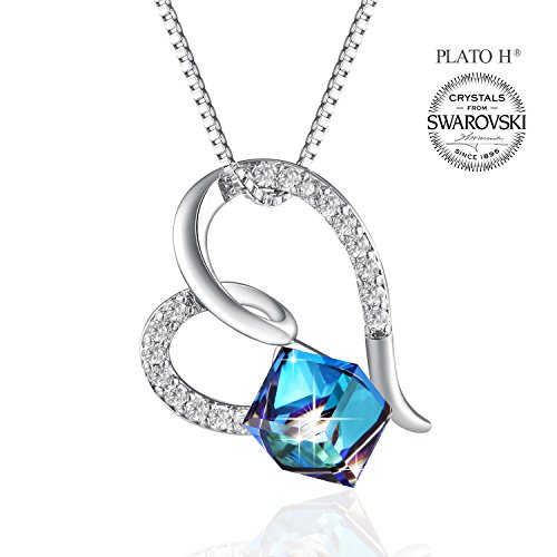 Heart Crystal Neckalce PLATO H ''You Are The Only One In My Heart'' Ocean Blue Heart Necklace Change Color Necklace With Swarovski CrystalGifts Necklace For Woman by PLATO H