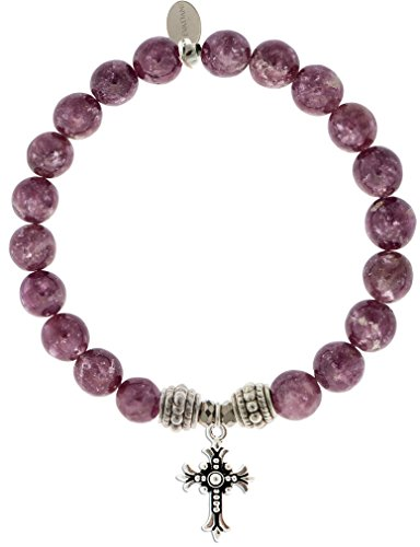 EvaDane Natural Lepidolite Gemstone Rope Bead Cross Charm Stretch Bracelet - Size 8 Inch ( 1_LEP_S_R_CRO_8)