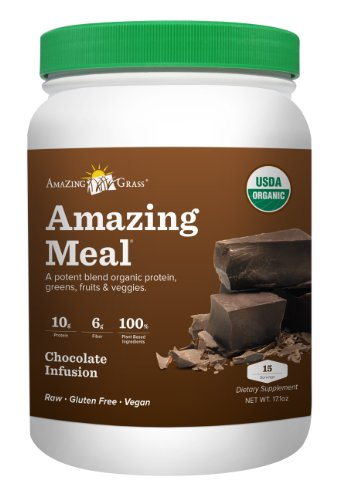 Amazing Grass Amazing Meal, Organic Chocolate Infusion Powder, Gluten Free, 15 Servings, 17.1-Ounce Container