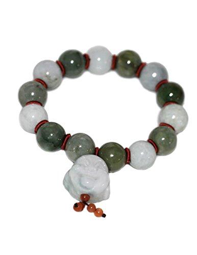 Dahlia Laughing Buddha Jade 12mm Bead Bracelet Genuine Certified Grade A Jadeite, 7