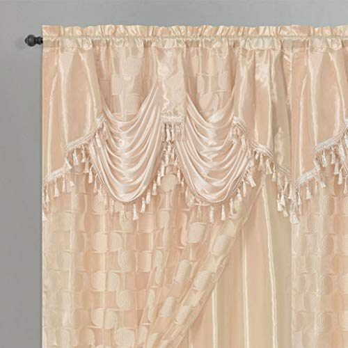 (CIRCLE CYCLE. Clipped voile. voile jacquard window curtain drape with attached fancy valance and taffeta backing. 2pcs set. Each pc 54 inch wide x 84 inch drop + 18 inch valance. (COFFEE))