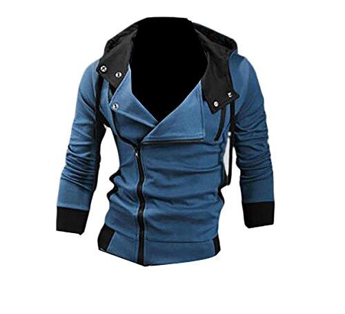 Varsity Sweater Costume (WSPLYSPJY Men's Oblique Zipper Hoodie Costume Top Coat Jacket Denim blue L)