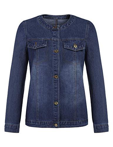 (Pinspark Womens Vintage Denim Jacket with Pockets Long Sleeve Casual Jean Coat (Dark Blue S))