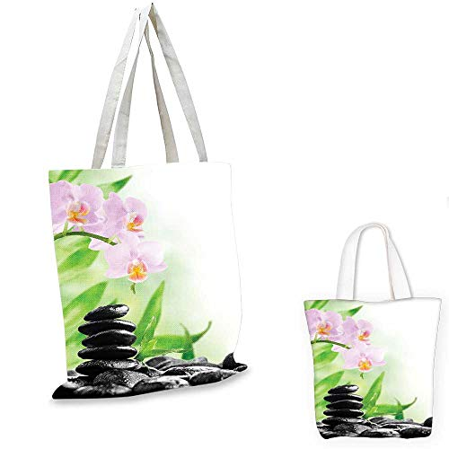 (Spa non woven shopping bag Zen Basalt Stones and Orchid with Dew Peaceful Nature Theraphy Massage Meditation canvas bag shopping Black Pink Green. 16