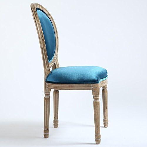 Paris Prix - Lot De 2 Chaises Médaillon Velours Versailles 96cm Bleu