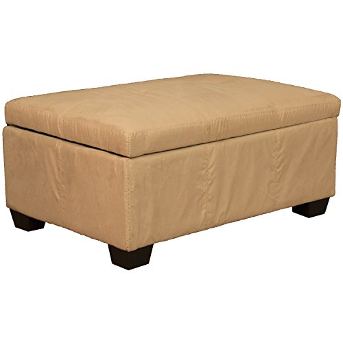 36″ x 24″ x 18″ high Tufted Padded Hinged Storage Ottoman Bench, Microfiber Suede Khaki