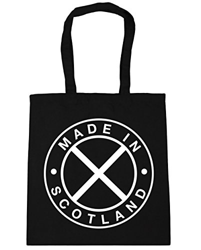 Bag x38cm Shopping Tote 10 litres Scotland Gym Beach HippoWarehouse 42cm Made Black In xwAqRz0OC
