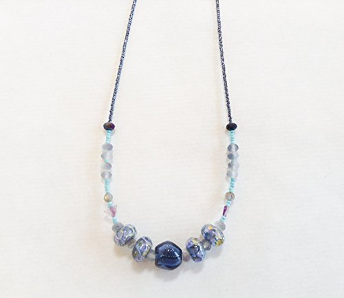 Blue Lampwork Necklace with Grace Beads