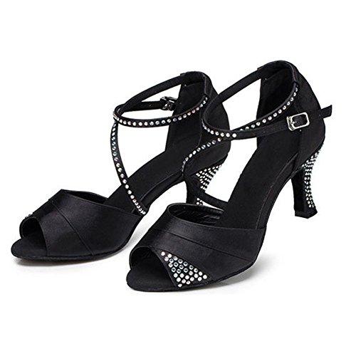 Femmes Latin Danse Sandales Satin Diamant Cuir Tango Salsa Samba Tango Salle De Bal Ouvert Pieds Doux Daim Soles Boucle Talons Hauts Chaussures Noires. C. 41